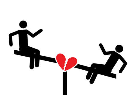 Love on a swing. Broken heart. Playground symbol for download.  icons for video, mobile apps, Web sites and print projects. Banco de Imagens