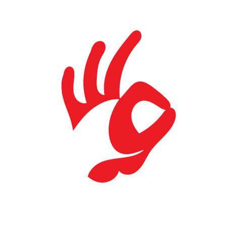 OK hand sign. Design of the head of a Rooster.