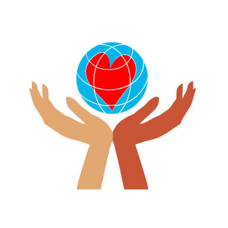 hands with earth, people of the world holding the globe, flat vector sticker, poster, etc