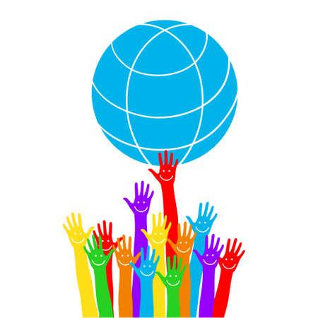 Emoticon sul palmo. Mani con la terra, persone del mondo che tengono il globo, adesivo piatto vettoriale, poster, ecc