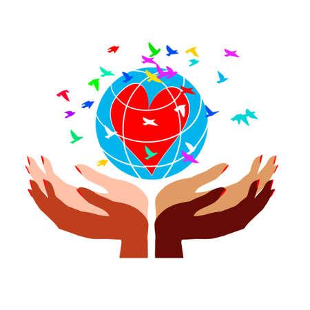 Manos de diversidad del día internacional de la mujer con la tierra, personas del mundo sosteniendo el globo Ilustración de vector