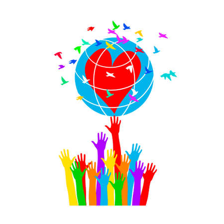 Hands support the globe with hearts surrounded by colorful birds. Symbol of peace. Vectores