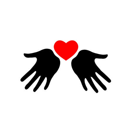 Heart icon in hands. Vector heart icon on palms. Silhouette.