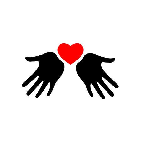 Icono de corazón en las manos. Icono de corazón de vector en las palmas. Silueta. Ilustración de vector