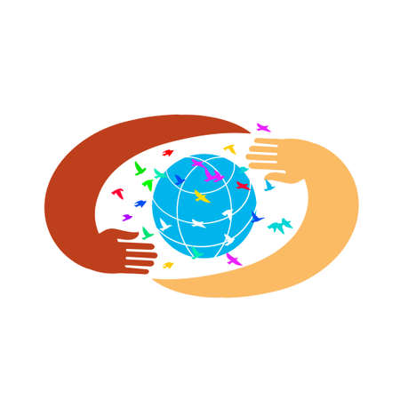 Hands support the globe surrounded by colorful birds. Symbol of peace. Vectores