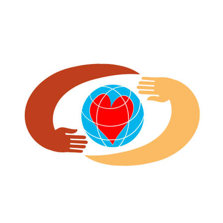 Hands with earth, people of world holding globe Vectores