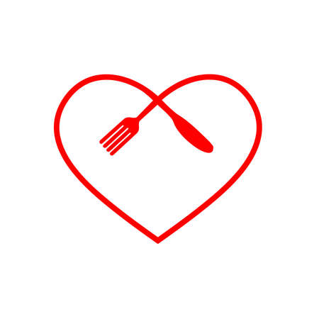 Love food modern style logo design. a spoon knife and a fork in the shape of a heart.