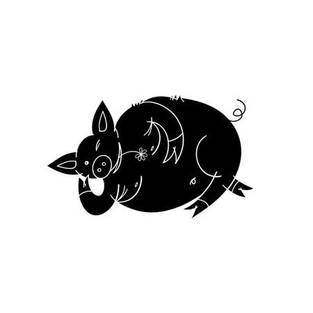 Sketch with a lying pig. Hand drawn vector illustration isolated on white, logo, t-shirt design.