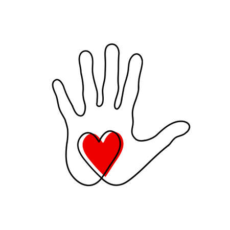 Heart in the palm of your hand. Vector illustration of the icon of cordiality and kindness.