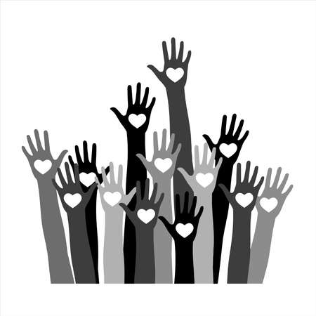 Volunteer concept with hands of different skin tones with heart in palms.