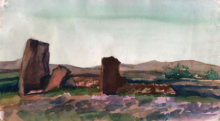 Stone Menhir in Khakassia Siberia. Quality watercolor painting. Watercolor sketch made from nature