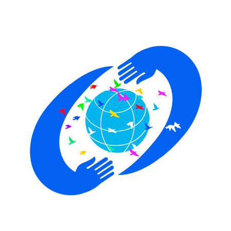 Save World icon design. Hands Holding Earth Globe with birds, Illustration.