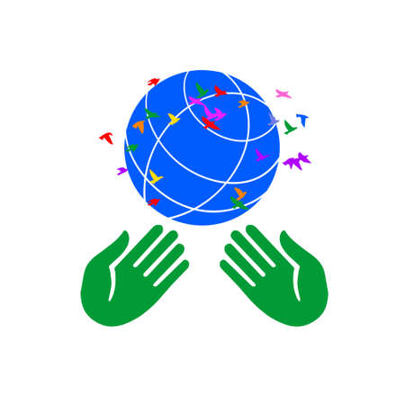 International Peace Day, dove, globe and hands raised up, card. Illustration
