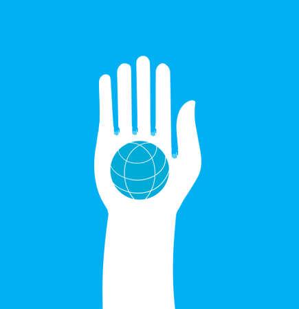 Hand houden globe - pictogram. Metafoor voor vrede en eenheid Stockfoto