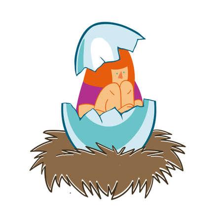 girl in an eggshell in the nest