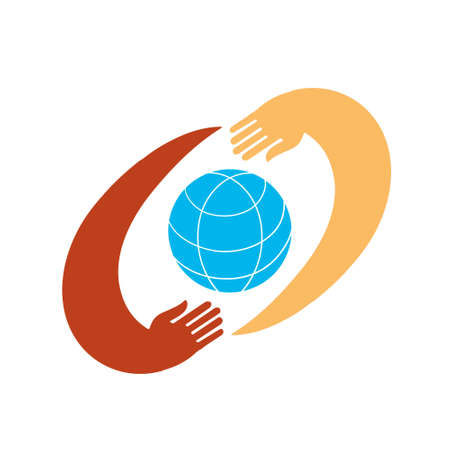 Hands with earth, people of the world holding the globe