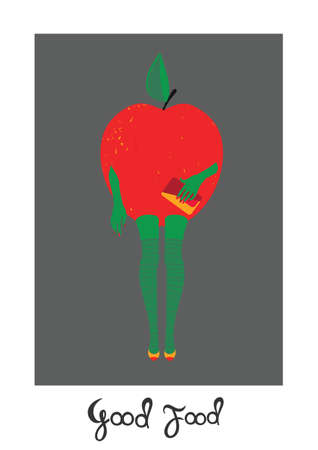 Woman-Apple. illustration on white background, template for design, greeting card, invitation.