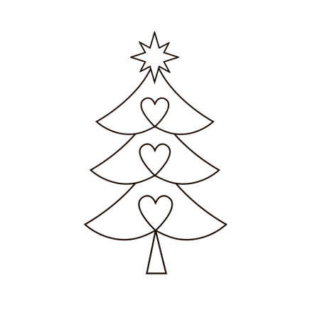 Christmas tree silhouette with decorations. illustration on white background Standard-Bild - 132359049