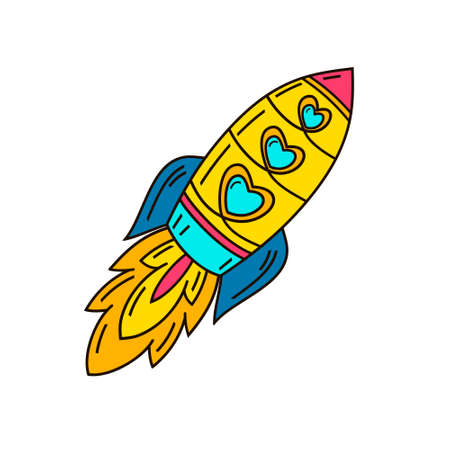 Missile. Isolated illustration in patch style. Funny illustration of a handmade comic style.