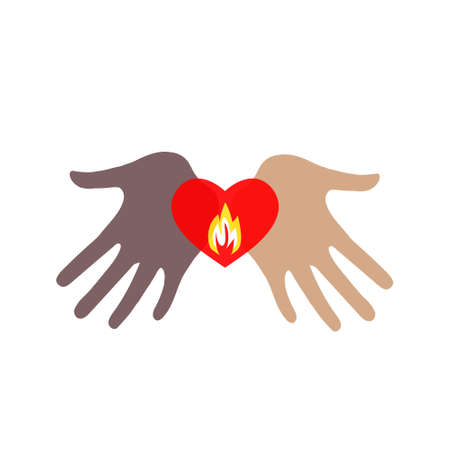 Two hands of different skin colors holding a burning heart. Standard-Bild - 132359052
