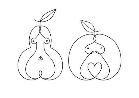 Woman body shapes. Apple, pear, types icon.  illustration Standard-Bild - 132359054