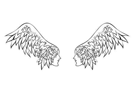 Two wings with human faces. Couple in love. Standard-Bild - 132359136