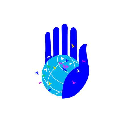 Globe on their fingertips. Illustration metaphor of peace and ecology. Vector illustration isolated on white. Charity symbol, logo illustration. Vector graphics. Vector illustration isolated on white background, logo, t-shirt design. Standard-Bild - 132359138