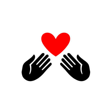 Hands with heart icon for design and web design. Flat style sign for mobile concept and web design. Charity symbol, logo illustration. Vector graphics Standard-Bild - 132359140