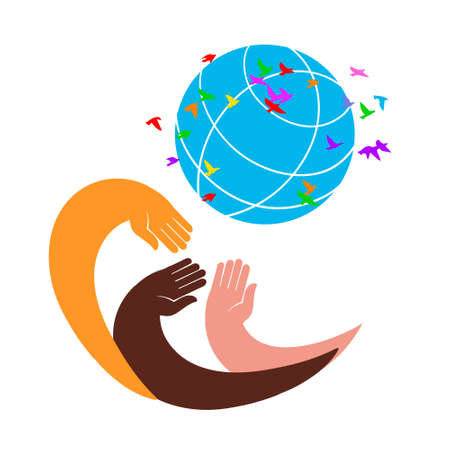 Three hands of different skin colors hold the globe. Concept of peace and tolerance. Flat style sign for mobile concept and web design. Charity symbol, logo illustration. Vector graphics Standard-Bild - 132359142