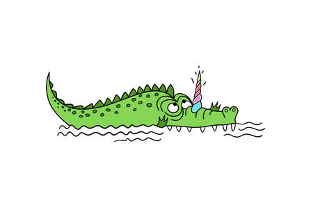 Unicroc. Crocodile-unicorn. Cute crocodile with unicorn horn. Standard-Bild - 132359143