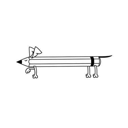 Dachshund-pencil. Dog pencil makes a stand. Illustration for design and postcards. Standard-Bild - 132359144