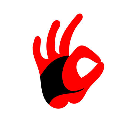 OK hand sign. Design of the head of a Rooster. Cock. Abstract rooster logo, cock icon. Standard-Bild - 132359146