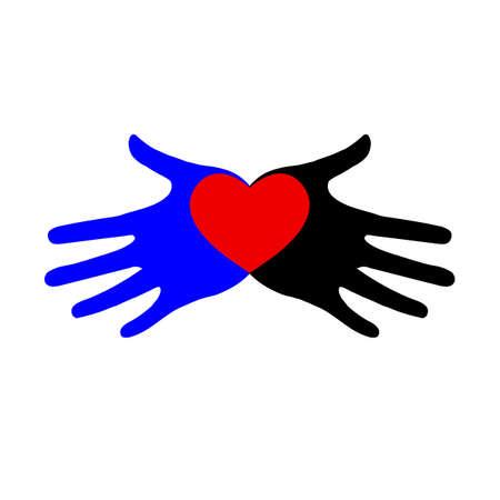 Heart icon in hands. heart icon on palms. Standard-Bild - 132359147