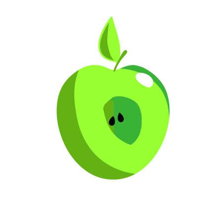 Green apple. illustration on white background, template for design, greeting card, invitation. Standard-Bild - 132359150
