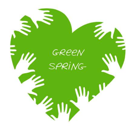 Green heart is a metaphor of spring. Standard-Bild - 132359154