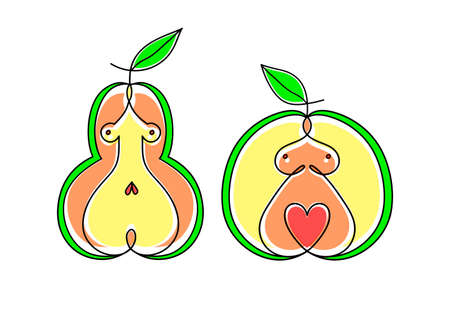 Pear Apple Women Body Type Figure Sketch. Hand Drawn Illustration Isolated on a White Background. Standard-Bild - 132359202