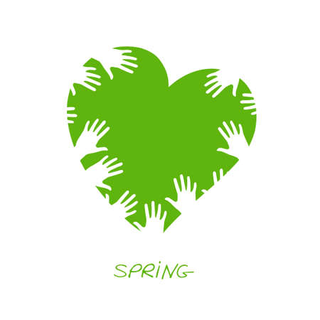 Spring. Simple cute illustration. illustration on white background, template for design, greeting card, invitation. Standard-Bild - 132359204