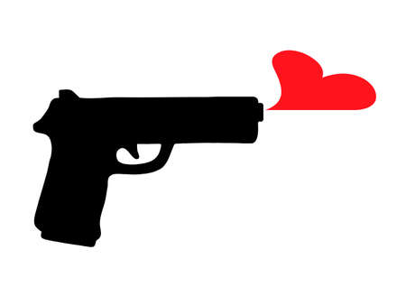 Black silhouette of a black gun, which produces a red heart, and does not shoot bullets. Standard-Bild - 132359207