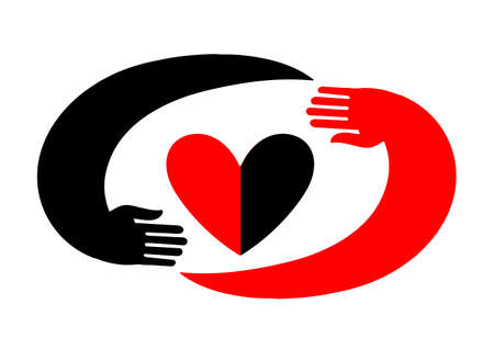 Hands embracing a heart. Original icon with black and red design. Standard-Bild - 132359209