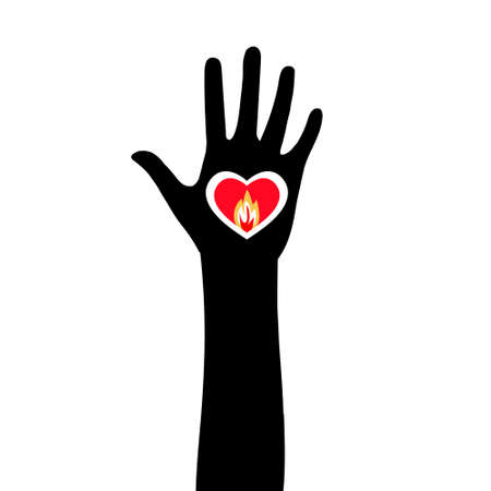 Silhouette of a hand with a lighted heart. Standard-Bild - 132359233
