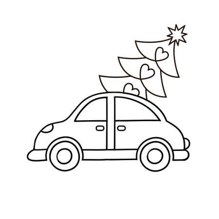 illustration of vintage red car with xmas pine tree gift on roof.  . Standard-Bild - 132594762