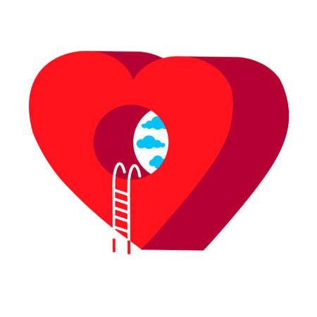 isometric heart illustration. 3d icon. Heart shape in three dimensional style. Standard-Bild - 132594551