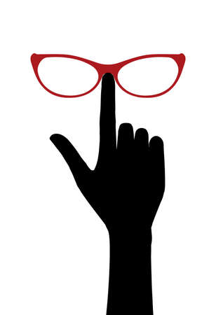 Hand corrects glasses. Icon illustration with different application isolated on white background. Фото со стока
