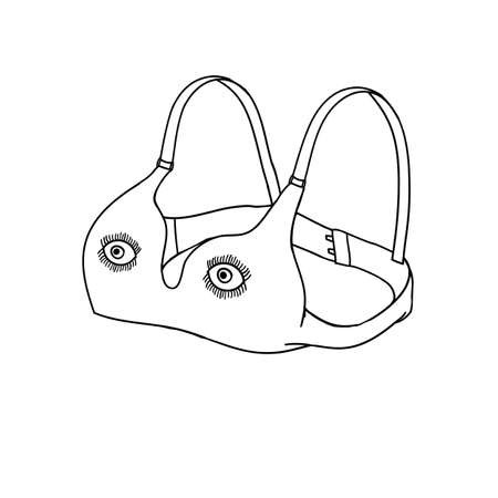 Bra line art. Bra with eyes funny sketch. Icon illustration with different application isolated on white background.