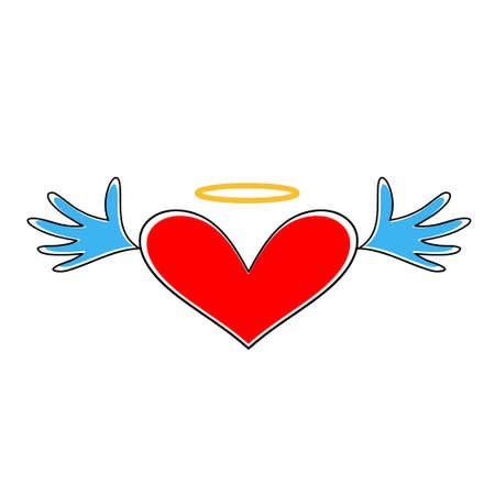 Heart icon . Heart with wings and halo isolated on white background. Heart symbol of Valentines day. 版權商用圖片