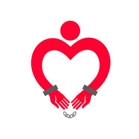 Heart in handcuffs. A man with heart-shaped hands in handcuffs.