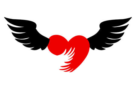 flying heart with wings red icon on white background. Ilustracja