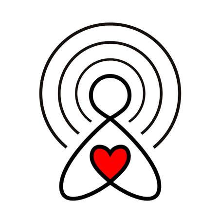 Love via internet sign. Icon of the donor, a volunteer philanthropist. Hand drawn vector illustration isolated on white, logo, t-shirt design Foto de archivo - 134874056