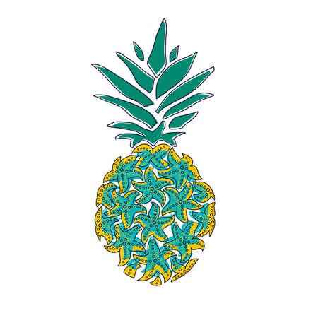 Pineapple with sea stars. Vector illustration isolated on white background, logo, t-shirt design. Standard-Bild - 134874059