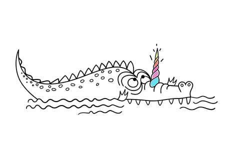 cute funny crocodile with a unicorn horn, Scandinavian style flat design. Concept for children print. Vector illustration isolated on white background, logo, t-shirt design. Standard-Bild - 134874060